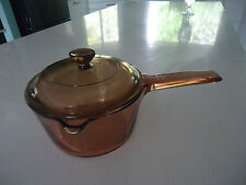 vintage saucepan corning ware visions brown glass 1lt spout & lid
