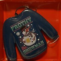 Ugly Blue Christmas Sweater FROTHY (Frosty) The Snowman Ornament- Holiday Time