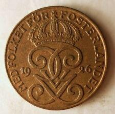 1926 SWEDEN 2 ORE - Collectible Coin - Free Ship - Premium Bin #14