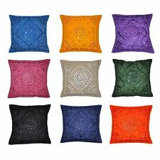 "Indian Embroidered Mirror Work Decor 16"" Cushion Cover Pillow Cover 5 Pcs Lot"