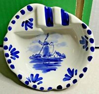 Porcelain-Delft Blauw-Ashtray-Hand Painted in Holland-1980s-Collectors-Vintage