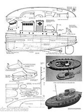 "Model Boat Plan 15"" Radio Control Lehigh Valley Railroad Tug Full Size Plan onCd"