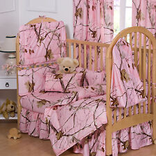 Realtree Pink Camo Crib Set 6 Pcs, Camouflage Baby Toddler Bedding