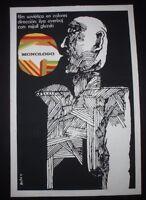 MONOLOGUE Cuban Silkscreen Poster by Cuba Art Master BACHS for 70s Soviet Movie