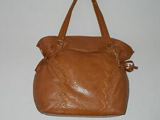 Big Buddha Cognac Brown Faux Leather Reptile Inset Langley Large Tote Handbag