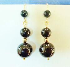 Beautiful Genuine Black Onyx Earrings in 14k YGF