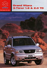 Prospekt 2003 Suzuki Grand Vitara 3 Türer 1.6 2.0TD 6 03 brochure Auto Pkw Japan