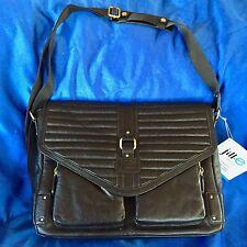 "Jill-e Designs Black Leather Laptop Table Bag Case Veronica 15"""