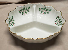 New ListingLenox Holiday 3-Section Divided Serving Bowl-Holly Berry Pattern - With Gold Rim