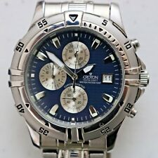Date Doesn't Change Mens Croton Chronomaster Watch Blue Dial All Stainless Steel