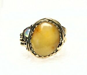 Organic Style Golden Bronze Ring-Honey Amber and Opal -Size 8