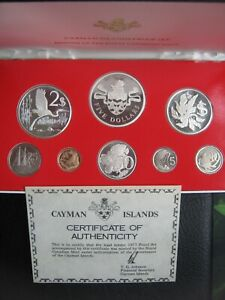 Cayman Islands 1977 1 Cent - $5 Dollars Proof Coin Set Cased Royal Canadian Mint