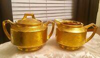 Arzberg Bavaria & D&B Germany Gold Plated Creamer & Sugar Bowl Patterned design
