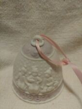 """Lladro 1987 Christmas Bell white bisque Porcelain 3 little girls 3"""" tall No box"""