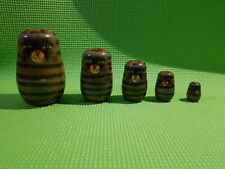 Vintage Russian 5 Piece Wood Nesting Stacking Dolls 4""