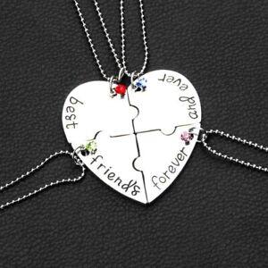 Partnerset 4 Necklaces Chain Pendant Puzzle Best Friends Heart Rhinestones