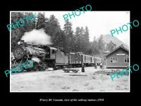 OLD LARGE HISTORIC PHOTO OF D'ARCY BC CANADA, THE RAILWAY STATION c1910