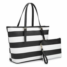Dasein Women Striped Style Handbags Tote Bag Shoulder Satchel with Pouch Set
