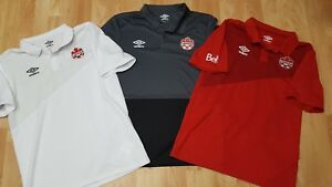 Lot Of 3 Men's S/M Umbro Canada Soccer Grey/White & Red S/S Polo Shirts EUC