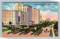 Miami FL, Royal Palms Along Biscayne Boulevard, Florida Linen Postcard