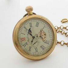 modern pocket watches moon phase open face vintage copper moon phase tourbillion wind up men pocket watch retro