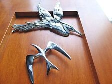 LOT OF (2) SIGNED BIRD BROOCHES ~ BUTLER HERON CRANE STORK, SARAH COV SEAGULL