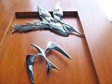 LOT OF (2) SIGNED BIRD BROOCHES ~ BUTLER HERON CRANE STORK, SARAH COV SEAGULL