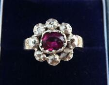 Beautiful 18ct gold and silver Georgian Ruby and rose Diamond cluster ring