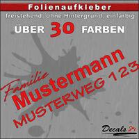 HN2 - Hausnummer Türschild Aufkleber  - Schild/Briefkasten/Nummern/Straße