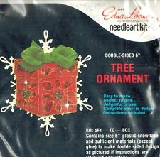 Edna Looney Christmas GIFT BOX Felt Ornament Embroidery Kit Jeweled Dbl Sided
