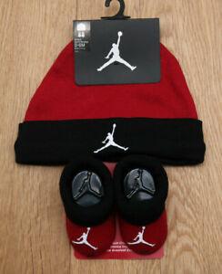 Air Jordan Baby Boy Infant Hat & Booties Set ~ Red, Black & White ~ 0-6M ~