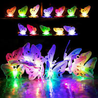 12/20 LED Solar Powered Butterfly Fiber Optic Fairy String Outdoor Garden Lights