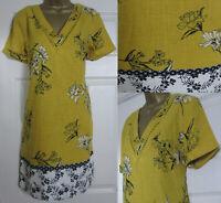 NEW Next Shift Tunic Dress Linen Blend Summer Sun Broderie Ochre Black 8-20