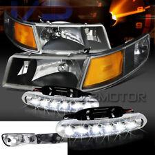 98-02 Mercury Grand Marquis Black Headlights+Corner Lamps+LED DRL Fog Lights