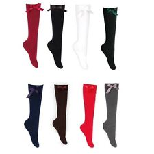 Girls Bow Knee High Socks Packs of 1 Pair up to 6 Pair LOT School Fancy Dress