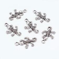 LOT de 6 PENDENTIFS perles breloques GECKOS LEZARDS 25,5x16mm ARGENTES bijoux