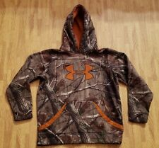Under Armour RealTree Camouflage Hoodie Sweatshirt ~ Youth Large L ~ Orange Logo