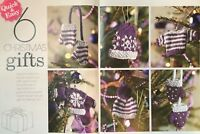 KNITTING PATTERN 6 Christmas Gifts Tree Decorations Jumper Mittens Bobble Hat