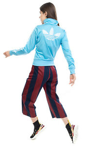 ADIDAS Sweatshirt Size 34 / S Two Tone Logo Sides Stripes Full Zip Funnel Neck
