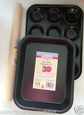 Baking Tray & 12 Bun Muffin Tray & Wooden Rolling Pin