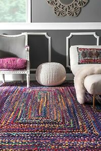 Rug Braided Area Blue Multi Cotton Base Floor Natural Recycled Various Size Rugs
