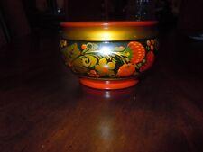 New listing Traditional Russian Khokhloma Handmade Colorful Wooden Bowl Dish 4 1/4' diameter