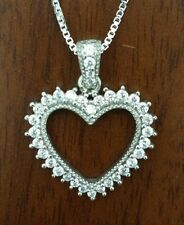 "925 sterling silver  Heart micro pave c z pendant 18"" box chain necklace."