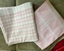 """2 Vintage 1980s Tablecloths Pink and White 45"""" square each Cotton Good Condition"""
