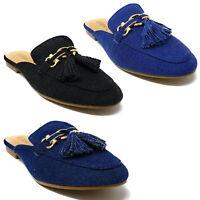 Women Fashion Slip-On Mules Loafer Slipper Flats in Denim Colors w/ Tassels