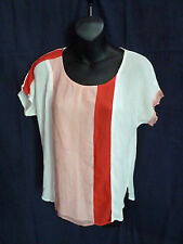 Ella Moss Women Sz S Sheer Colorblock Tee Top Blouse Red White Cisco Rayon