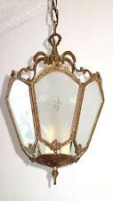 Antik Französische Messing-Kristallglas Kronleuchter, Lüster, Hollampe 3 Flammig