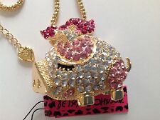 """CUTE CRYSTAL PIG w/ BOW 28"""" Pendant Necklace Betsey Johnson"""