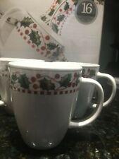 Two (2) Oneida Winter Wonderland Holly N' Berries Stoneware Mugs BRAND NEW!