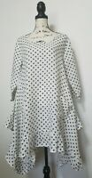 Heart's Desire Mary Grace Lagenlook Polka Dot Ruffle Tunic Linen Dress Women
